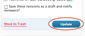 Update button on Page editing screen.